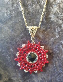 Handmade Star pendant necklace 51cm long - black, red & crystal