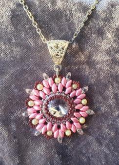 Handmade Star pendant necklace 51cm long - Pink, Brown, Cream & Crystal
