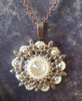 Handmade Star pendant necklace 52cm long - Brown, Cream & Crystal