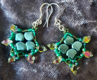 Handmade Earrings - Mint Green  with Sterling Silver hooks