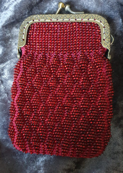 Handmade Bead Knitted Purse - Red with Ant Bronze clasp