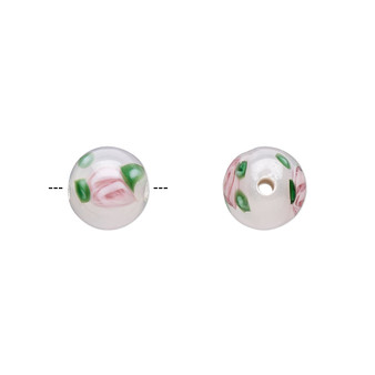 8-9mm - Czech - Op White, Pink Green - 6pk - Lampworked Glass with flower Design