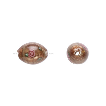 9-10mm x 6-7mm - Czech - Op Brown, Pink - 4pk - Oval Lampworked Glass with flower Design