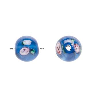 10-11mm - Czech - Op Blue, Pink Green - 4pk - Round Lampworked Glass with flower Design
