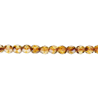 4mm - Czech - Tortoise Gold - Strand (approx 100 beads) - Faceted Round Fire Polished Glass