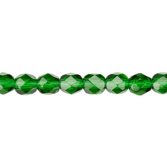 6mm - Czech - Transparent Emerald Green - Strand (approx 65 beads) - Faceted Round Fire Polished Glass