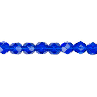 6mm - Czech - Transparent Cobalt - Strand (approx 65 beads) - Faceted Round Fire Polished Glass