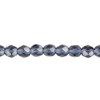 6mm - Czech - Translucent Montana Blue - Strand (approx 65 beads) - Faceted Round Fire Polished Glass