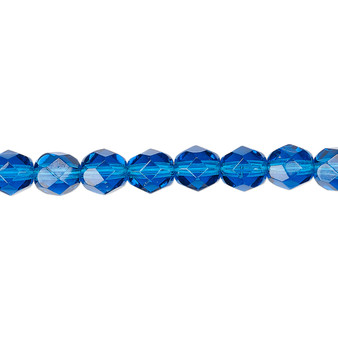 6mm - Czech - Transparent Dark Aqua Blue - Strand (approx 65 beads) - Faceted Round Fire Polished Glass