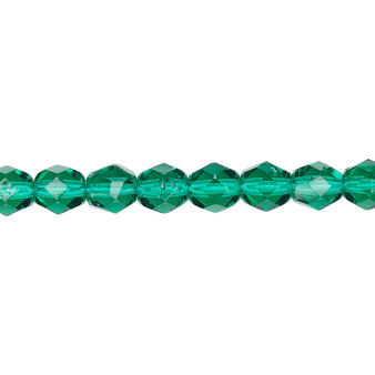 6mm - Czech - Translucent Teal - Strand (approx 65 beads) - Faceted Round Fire Polished Glass