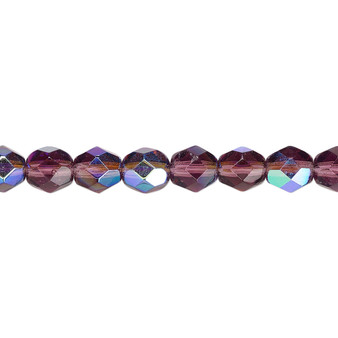 6mm - Czech - Translucent Amethyst Purple AB - Strand (approx 65 beads) - Faceted Round Fire Polished Glass
