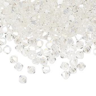 4mm - Preciosa Czech - Crystal Argent Flare - 48pk - Faceted Bicone Crystal