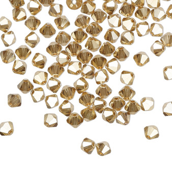 4mm - Preciosa Czech - Crystal Golden Flare - 48pk - Faceted Bicone Crystal