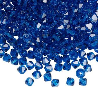 4mm - Preciosa Czech - Capri Blue - 48pk - Faceted Bicone Crystal