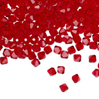 4mm - Preciosa Czech - Light Siam - 48pk - Faceted Bicone Crystal