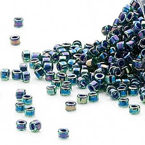 DB0276 - 11/0 - Miyuki Delica - Colour Lined Rainbow Teal - 50gms - Cylinder Seed Beads