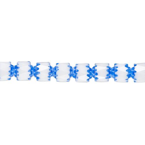 "6mm - Preciosa Czech - White & Medium Blue Apollo - 15.5"" Strand (Approx 65 beads) - Round Cathedral Glass Beads"