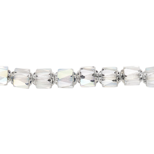 """6mm - Preciosa Czech - Clear Apollo AB - 15.5"""" Strand (Approx 65 beads) - Round Cathedral Glass Beads"""