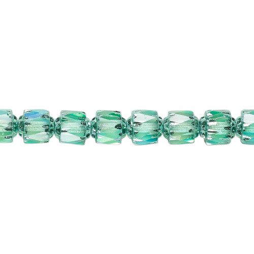 """6mm - Preciosa Czech - Teal Apollo AB - 15.5"""" Strand (Approx 65 beads) - Round Cathedral Glass Beads"""