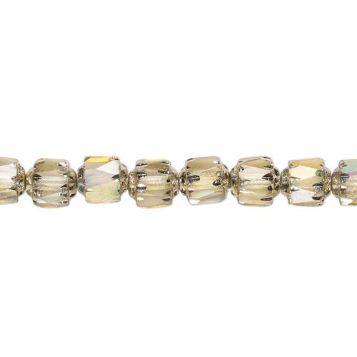 "6mm - Preciosa Czech - Smoke Apollo AB - 15.5"" Strand (Approx 65 beads) - Round Cathedral Glass Beads"