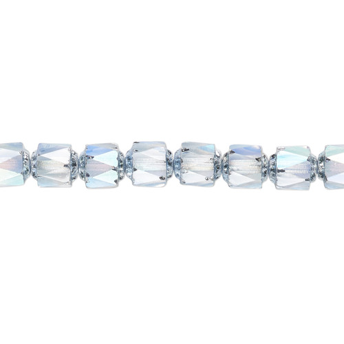 """6mm - Preciosa Czech - Light Blue Apollo AB - 15.5"""" Strand (Approx 65 beads) - Round Cathedral Glass Beads"""