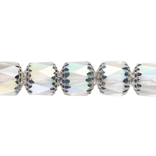 """10mm - Preciosa Czech - Clear Apollo AB - 15.5"""" Strand (Approx 40 beads) - Round Cathedral Glass Beads"""