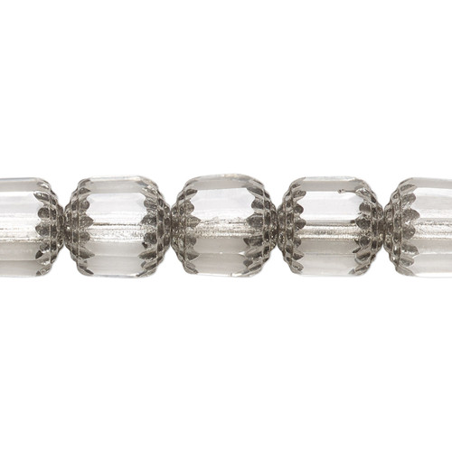 """10mm - Preciosa Czech - Clear & Metallic Silver - 15.5"""" Strand (Approx 40 beads) - Round Cathedral Glass Beads"""