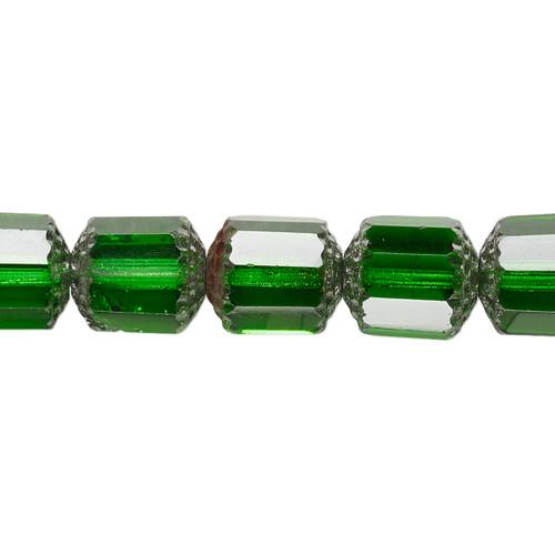"10mm - Preciosa Czech - Emerald Green & Metallic Emerald Green - 15.5"" Strand (Approx 40 beads) - Round Cathedral Glass Beads"