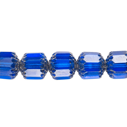 "10mm - Preciosa Czech - Cobalt & Metallic Silver - 15.5"" Strand (Approx 40 beads) - Round Cathedral Glass Beads"