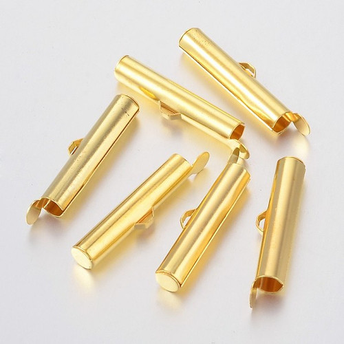 Iron Slide On End Clasp Tubes 26mm x 5mm  - to suit size 8 - 6 Seed Beads (4mm Inner Diameter) Gold Sold in packs of 20