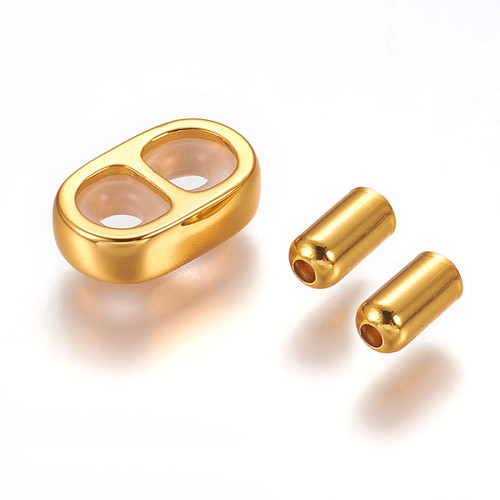 304 Stainless Steel - 2 strand - Smart Bead/Slide & Cord End Set - 2 Sets - Golden - 12x8x3mm (hole 3mm) with inside rubber stopper