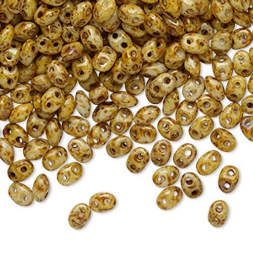 503000-86805 -2.5x5mm Preciosa - Chalk Dk Travertine - 50gm bag - Super Duo Beads