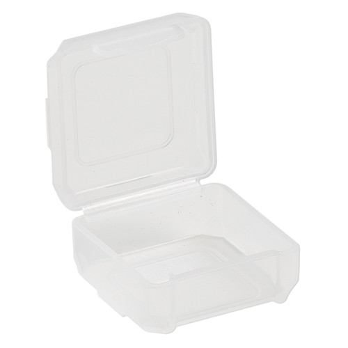 Organizer, Dot Box™, plastic, clear, 1-1/4 x 1-1/4 x 1/2 inch rectangle with pop-up lid. Sold per pkg of 8.