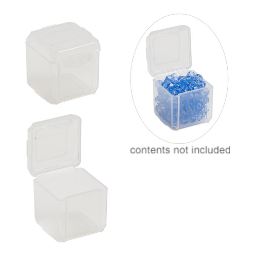 Organizer, Dot Box™, plastic, clear, 1-1/4 x 1-1/4 x 1-1/4 inch square with pop-up lid. Sold per pkg of 4.