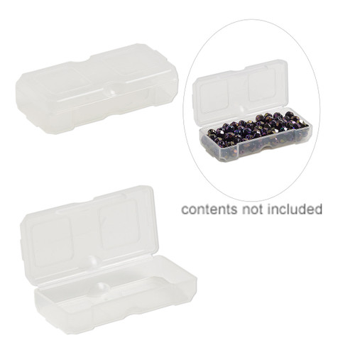Organizer, Dot Box™, plastic, clear, 2-1/2 x 1-1/4 x 1/2 inch rectangle with pop-up lid. Sold per pkg of 4.