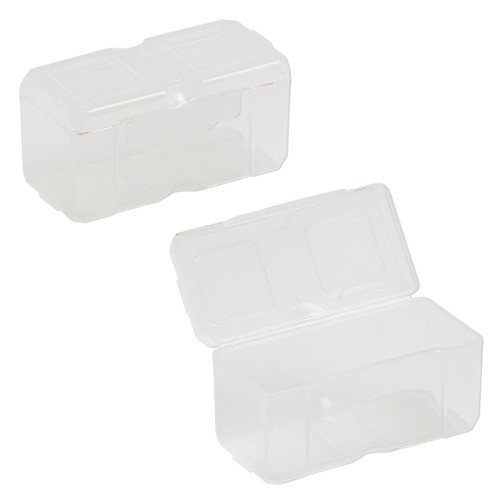 Organizer, Dot Box™, plastic, clear, 2-1/2 x 1-1/4 x 1-1/4 inch rectangle with pop-up lid. Sold per pkg of 2.