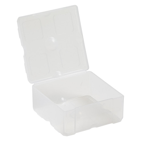 Organizer, Dot Box™, plastic, clear, 2-1/2 x 2-1/2 x 1-1/4 inch rectangle with pop-up lid. Sold individually.