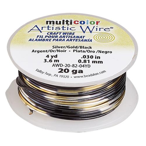 20 Guage - Artistic Wire® - Variegated Silver / Gold / Black - 4 yard spool - copper