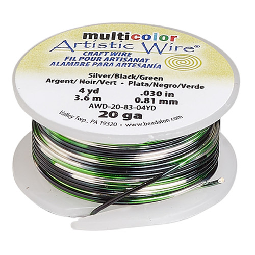 20 Guage - Artistic Wire® - Variegated Silver / Green / Black - 4 yard spool - copper