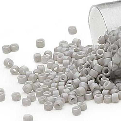 DB1528 - 11/0 - Miyuki Delica - Opaque Matte White Glazed Rainbow Pale Grey - 7.5gms - Cylinder Seed Beads