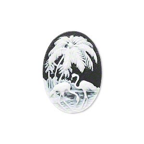Cabochon, black & white, 25x18mm oval cameo palm tree & flamingo