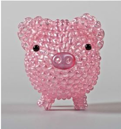 Free Download - Pig made from twin beads