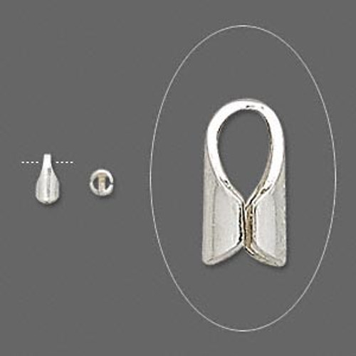 Cord end/tip, sterling silver, 6x3mm with 2mm inside diameter. Sold per pkg of 10.