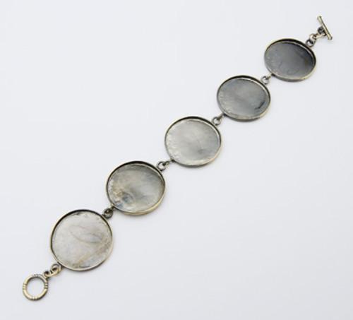 1 x Bracelet Base Antique Bronze (21cm Long) Round blanks: 26mm dia