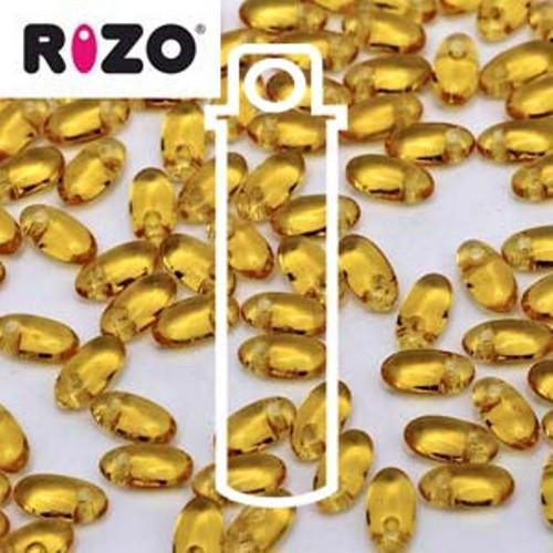 RZ256-10060 Preciosa Czech Rizo Beads 2.5mm x 6mm - 22gms - Topaz