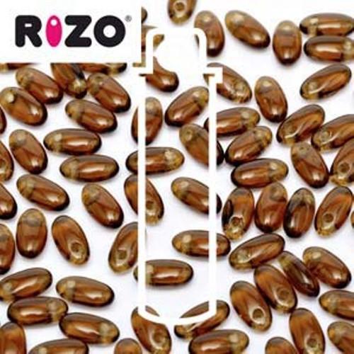 RZ256-10230 Preciosa Czech Rizo Beads 2.5mm x 6mm - 22gms - Smoked Topaz
