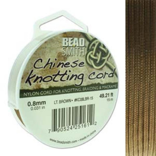 Chinese Knotting Cord 0.8mm thick, 15m reel Lt Brown