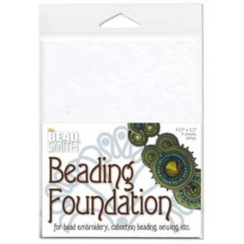 "4pk The Beadsmith Bead Back Beading foundation for Soutache/Beaded Cabochons 4.25*5.5"" White"