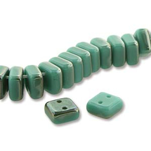 Chexx 2 Hole Bead, 6mm Green Turquoise Celsian, 1 Strand (50 Beads) (CHX06-63120-22501)