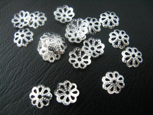 10gram bag of Plated Filigree Bead Caps, about 9mm in diameter, hole:1mm